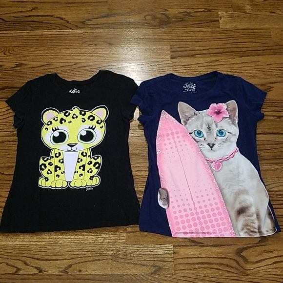 NWT Girls Justice Black Short Sleeve Top w//Different Pictures